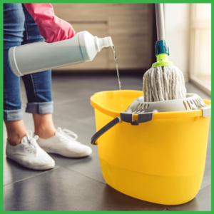 woman mopping and cleaning the floor